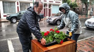 Man helping move flowers