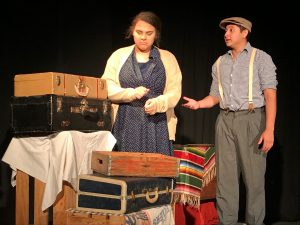 """Lillie Haneghan (left) and Daniel Urbina act out a scene during """"An American Dream: Lincoln, the Railroad and the Transformation of America."""""""